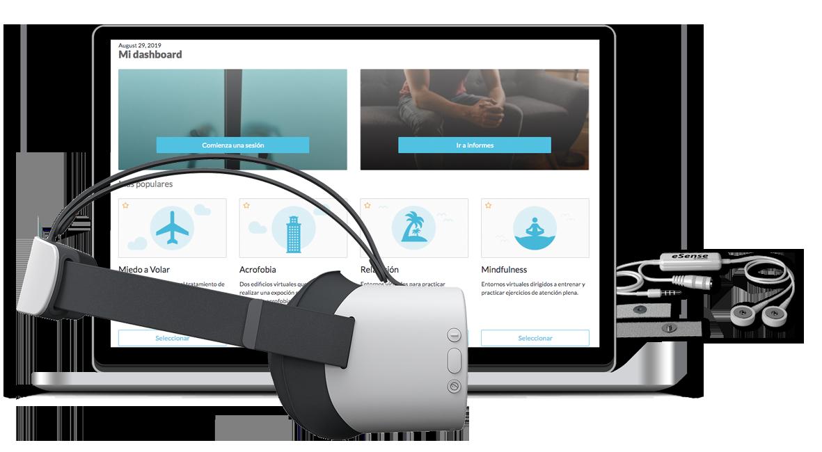 Kit de realidad virtual para terapia, para profesionales de la salud mental y psicología.